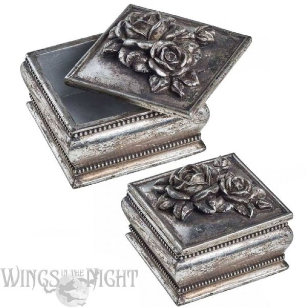 ALCHEMY GOTHIC Antique Silver Rose Trinket Box